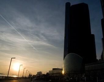 Urban, Detroit, Photography, Renaissance Building, Sunset, ShadowSoft light, Blue Sky, Yellow, Dark, Buildings, Home Decor