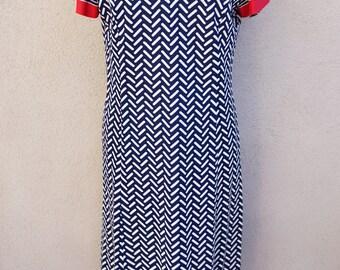 1970s Chevron Vneck Dress, Navy Blue Striped Dress with Red Trim, Long Blue Dress, Blue Midi Dress, Striped Shift Dress