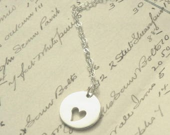 My True Love Hath My Heart Sterling Silver Necklace Love Charm Pendant