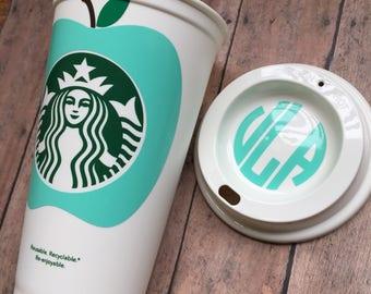 Mint Green, Starbucks Tumbler, Teacher Appreciation Gift, Teacher Appreciation, Starbucks Cup, Personalized Teacher Gift, Monogram, Apple