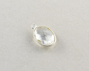 Sterling Silver Clear Quartz Oval Charm, Silver Gemstone Triangle Charm, 15mm Stone Charm, One