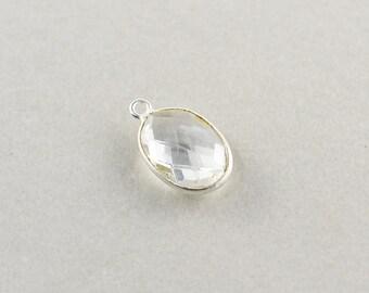 Argent sterling clair breloque ovale en Quartz, charme de Triangle argent pierres précieuses, 15mm breloque Pierre, un