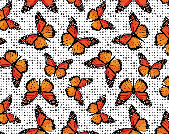 Flower Power by Patrick Lose - Monarchs Orange - Cotton Woven Fabric