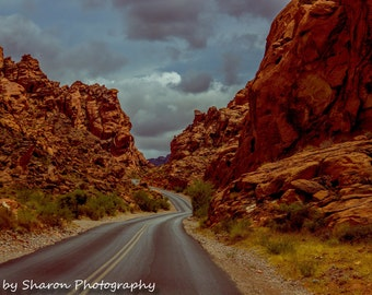 Landscape wall art, Landscape photography, Valley of Fire, Nevada, Nature wall art, Mountains, Fine Art Photograph, Home decor,Winding road
