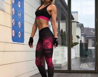 Black and Pink Workout Legging for Women, Pushup Training Legging, Fitness Legging, Yoga Legging, Pilates Legging