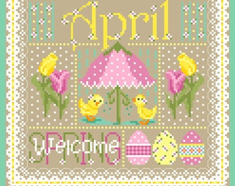 April Monthly Sampler Cross Stitch Chart PDF