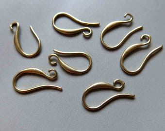 50pcs Raw Brass Ear Wire Earring,Earring Hooks, Findings 15mm  - F331
