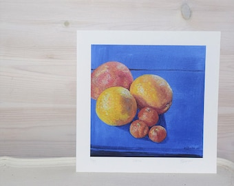 Giclée fine art print of oil painting, 'Citrus.' Open edition. Small size (8 inches x 8 inches plus one inch border)