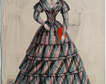 Early Victorian Era Fashion Plate, 1843 Hand Colored Fashion Engraving, Hand Colored, Women, Clothing, Period, Antique, Ephemera, 1800s