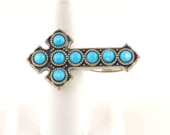 Size 6, 6.5 Silver Tone And Faux Turquoise Two Finger Cross Ring