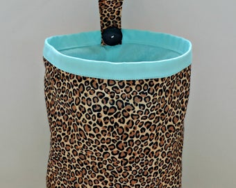 Cheetah Print Car Trash Bag, Key Fob