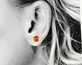 Memorial Day Sale Orange Quartz 8mm 3.85ctw Sterling Silver Stud Earrings