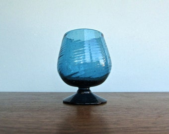 Vintage Oaxacan Spun-Glass Brandy Glass, Handmade Blown-Glass in Aqua Blue