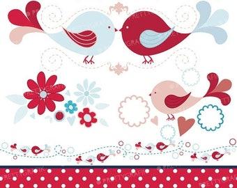 80% OFF SALE bird tweets clipart commercial use, vector graphics, digital clip art, digital images - CL427