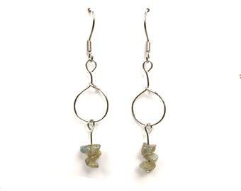 Dainty jewelry, silver wire earrings, labradorite jewelry, crystal earrings, dainty earrings, silver wire jewelry, labradorite earring, ylic