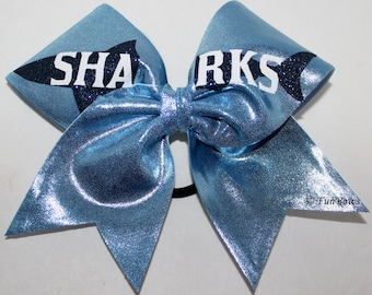 Custom Cheerleading Bow SHARKS or your team name
