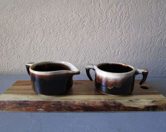 Pfaltzgraff Brown Drip Creamer and Sugar Bowl