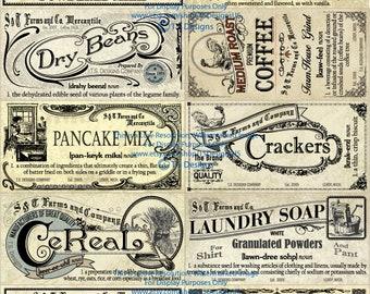Vintage Pantry Label Set