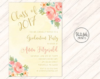 Graduation Party Invitation, Floral Graduation Invitation, Gold Graduation Invitation, Garden Graduation Invitation, Graduation Printable