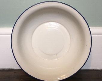 French Vintage Enamel White Bowl with Blue Rim