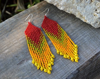 Beaded earrings Dangle earrings Beaded jewelry Long beaded earrings Seed bead earrings Fringe earrings