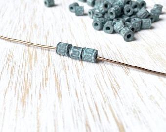 Blue Green Patina Barrel Bead 4mm x 5mm / 10pc, Small Round Barrel Bead, Rustic Copper Barrel Bead, Greek Casting Copper Patina Bead (MK008)