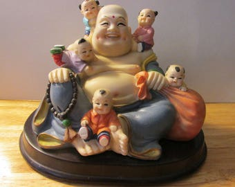 """Hotei, God Prosperity and Guardian of All Children Statuette, 4 3/4"""""""
