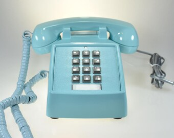 Vintage Blue Phone with Square Buttons and Blue Twisted Handset Cord