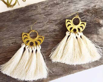 Moon Phase Earrings Elegant Boho Chic Festival Earrings Tassel Fringe Earrings Moon Cycle Earrings Ivory Tassel Silk Tassel Earrings