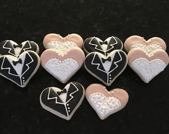 2 Dozen Mini Bride and Groom Heart Shaped Sugar Cookies