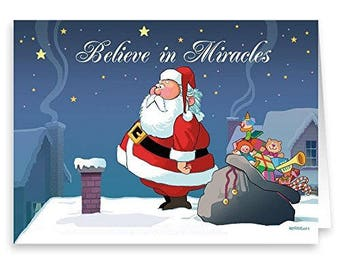 Do You Believe in Miracles- Funny Christmas Card 18 Cards & Envelopes - 20041a