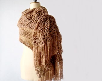 Chunky Extra Large Scarf, Oversized Knit Scarf, Knit Scarf with Huge Crochet Flower Brooch, Large Knit Scarf
