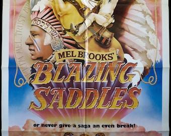 "BLAZING SADDLES ~ Cool John Alvin Art! Original 1974 U.S. 1 Sht. 27""x41"" in VF Cond. ~ Mel Brooks, Gene Wilder and Cleavon Little!"