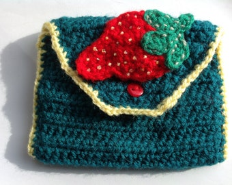 Strawberry crocheted purse in blue/green