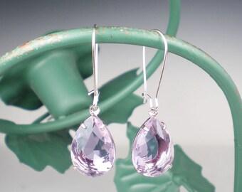 Rhinestone Earrings, Lavender Earrings, Drop Earrings, Bridesmaid Gift, Wedding Jewelry, Gift for Her, Lavender Wedding, MADE TO ORDER
