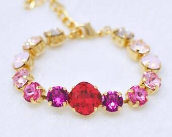 Red Pink Ombre Bracelet SWarovksi Crystal Scarlett Red Fuchsia Rose Pink Blush Cushion Tennis Bracelet Pink Bridesmaids Jewelry Bridal Gift