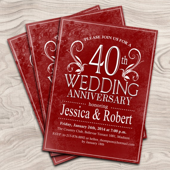 40th Wedding Anniversary Gift Ideas For Friends: 40th Wedding Anniversary Invitation / Ruby Red Anniversary