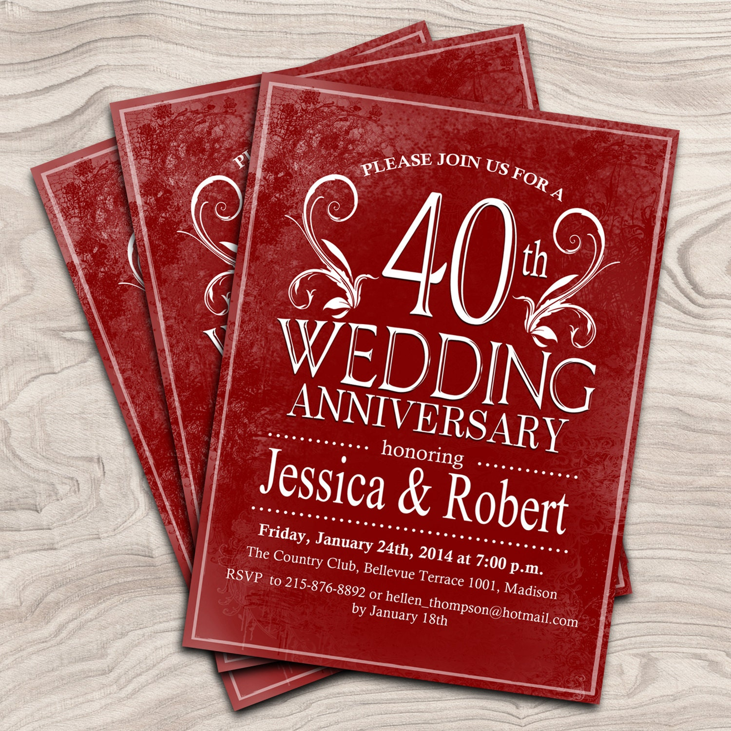 40th wedding anniversary invitation ruby red anniversary. Black Bedroom Furniture Sets. Home Design Ideas