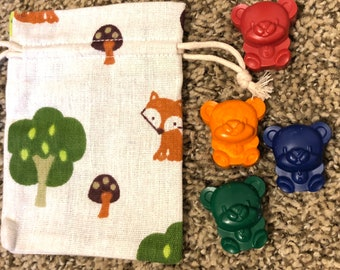Mini 4pc Bear Crayons; Party Favor or Great Gift for Kid and Adult Coloring Adventures!