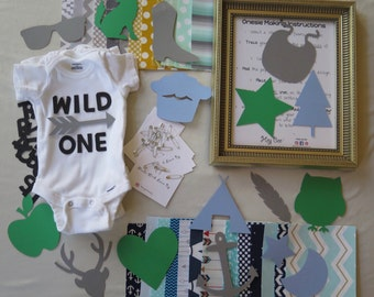 TRENDY theme for BOY- DIY Baby Shower Group Activity, Infant Onesie Decorating Kit, Stencils with Iron-On Fabric Applique Squares