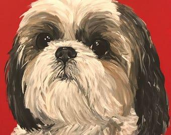 Shih Tzu art print from original Shih Tzu painting, Shih Tzu dog art. Canvas or paper prints