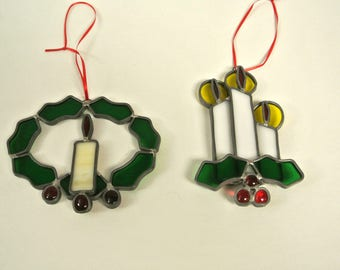 Vintage Handmade Stained Glass Christmas Window Ornaments Suncatchers Set of Two Candles with Holly Glass Art Window Decor