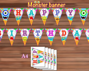 Little Monster Birthday Banner, Monster Party Decoration, PDF, Instant Download