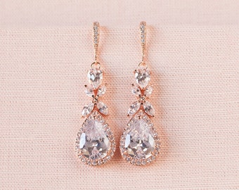 Rose Gold Bridal earrings  Wedding jewelry Crystal Wedding earrings, Gold Bridal Necklace Bridal jewelry, Amielynn Earrings