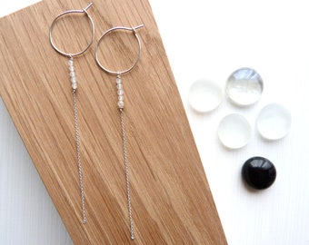 Thin, Silver earrings and pale pink, rose quartz and Silver 925 / long thin earrings