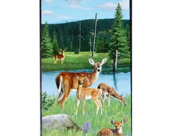 Oh Deer! Panel 23in x 44in~ Animal Cotton Fabric By~Wilmington Prints