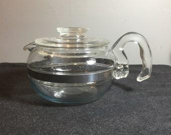 Vintage Pyrex Flameware 6 Cup Coffee/Tea Pot 8336-H - Blue Tint Glass 1950's Coffee Pot - Pyrex - Mid Century Coffee Pot - Retro Kitchen