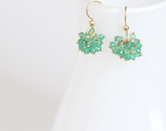 Claudia - Green onyx and gold filled cluster dangles