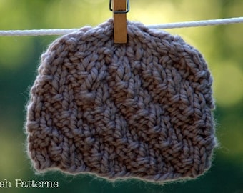 Knitting PATTERN - Spiral Knit Hat Pattern - Knitting Patterns for Babies - Includes Baby, Toddler, Child, Adult Sizes - PDF 278