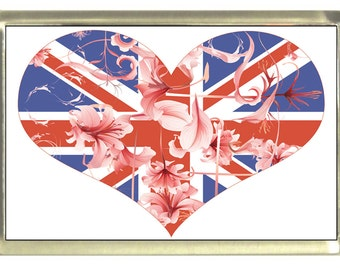 Union Jack Flag Heart Fridge Magnet 7cm by 4.5cm,